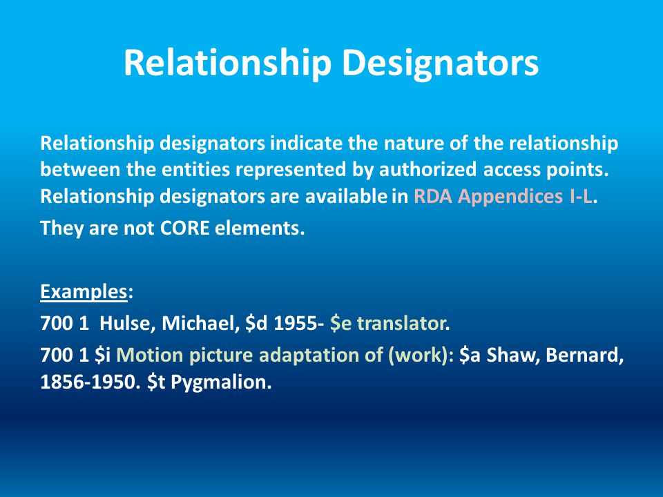 Relationship Designators Relationship designators indicate the nature of the relationship between the entities represented by authorized access points.