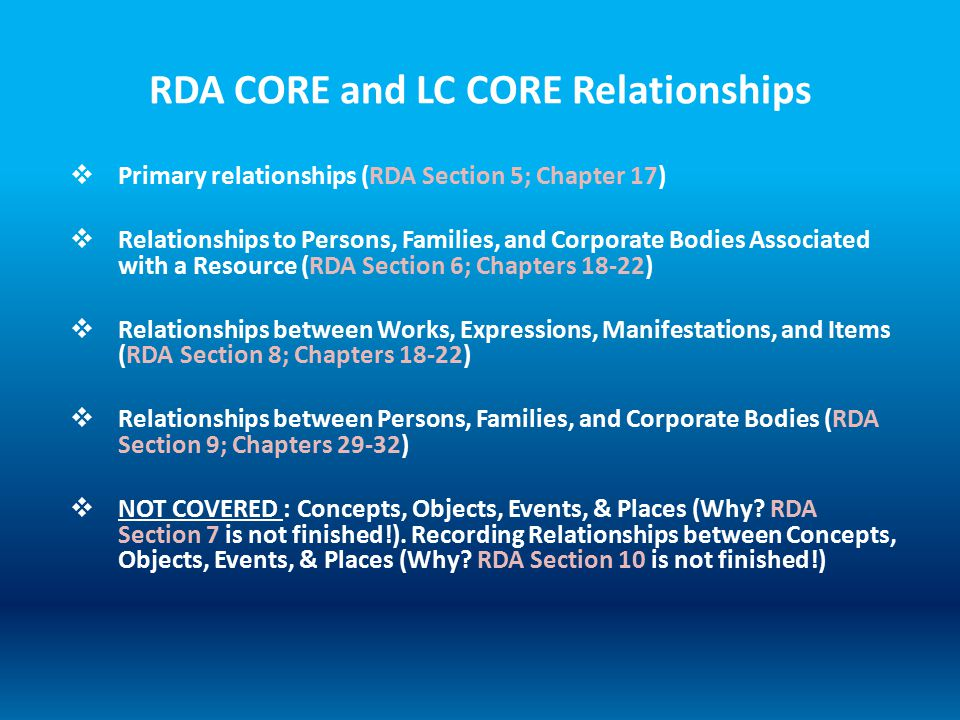 RDA CORE and LC CORE Relationships  Primary relationships (RDA Section 5; Chapter 17)  Relationships to Persons, Families, and Corporate Bodies Asso