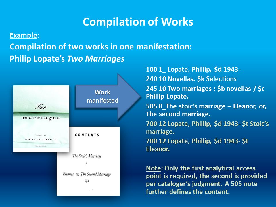 Compilation of Works Example: Compilation of two works in one manifestation: Philip Lopate's Two Marriages 100 1_ Lopate, Phillip, $d 1943- 240 10 Novellas.