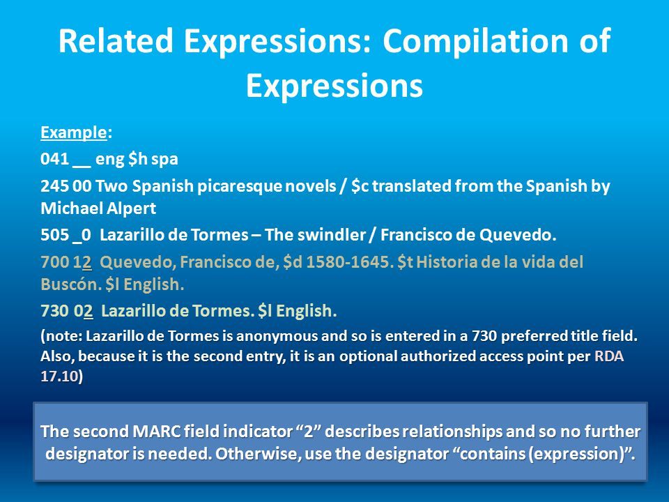 Related Expressions: Compilation of Expressions Example: 041 __ eng $h spa 245 00 Two Spanish picaresque novels / $c translated from the Spanish by Mi