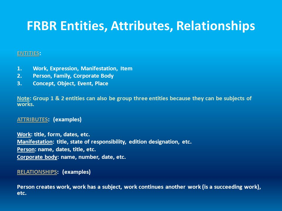 FRBR Entities, Attributes, Relationships ENTITIES ENTITIES: 1.Work, Expression, Manifestation, Item 2.Person, Family, Corporate Body 3.Concept, Object, Event, Place Note: Group 1 & 2 entities can also be group three entities because they can be subjects of works.