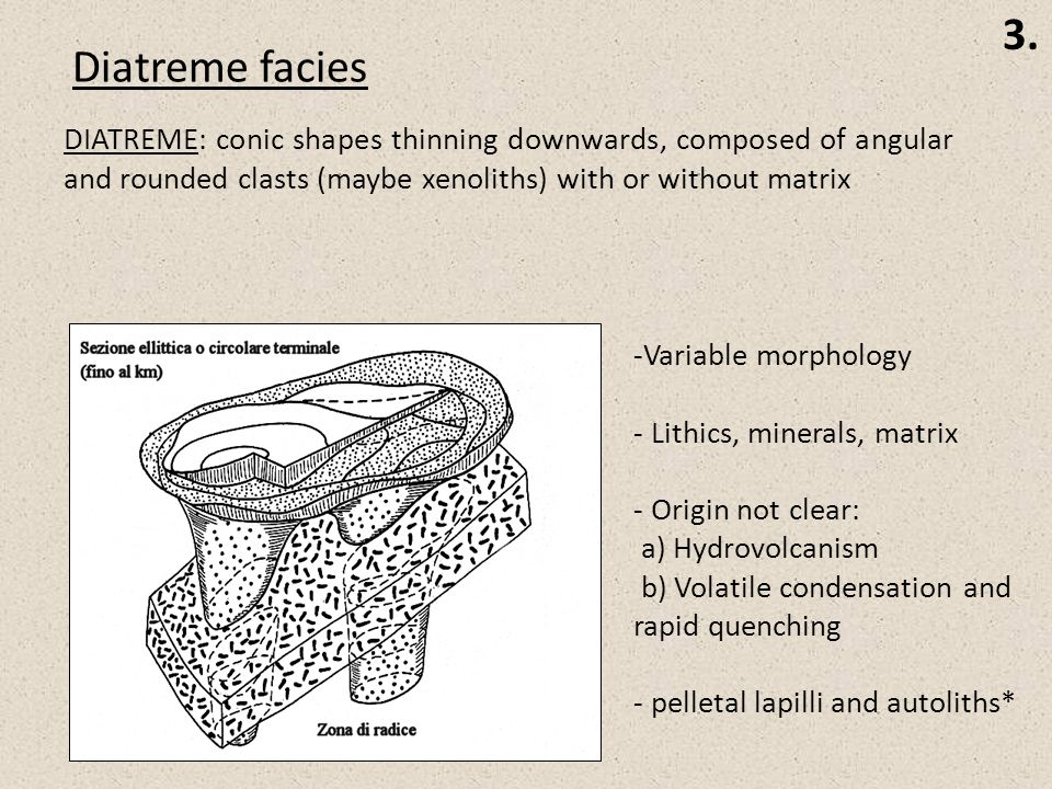 Diatreme facies DIATREME: conic shapes thinning downwards, composed of angular and rounded clasts (maybe xenoliths) with or without matrix -Variable morphology - Lithics, minerals, matrix - Origin not clear: a) Hydrovolcanism b) Volatile condensation and rapid quenching - pelletal lapilli and autoliths*