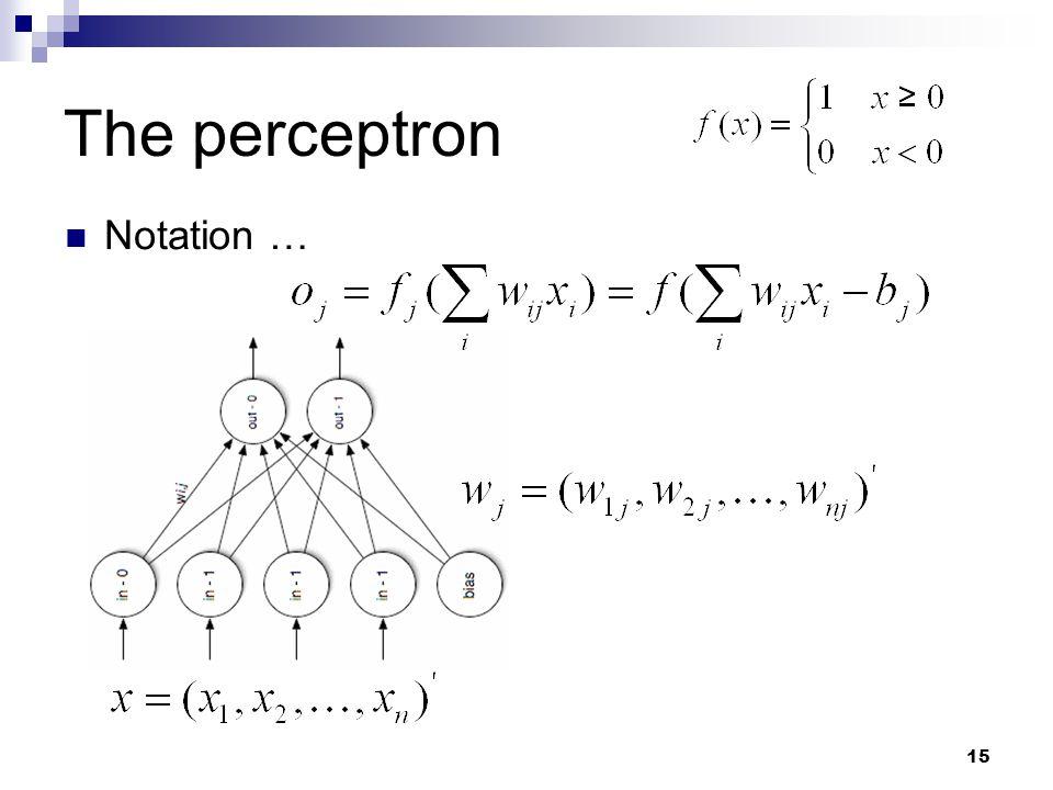 15 The perceptron Notation …