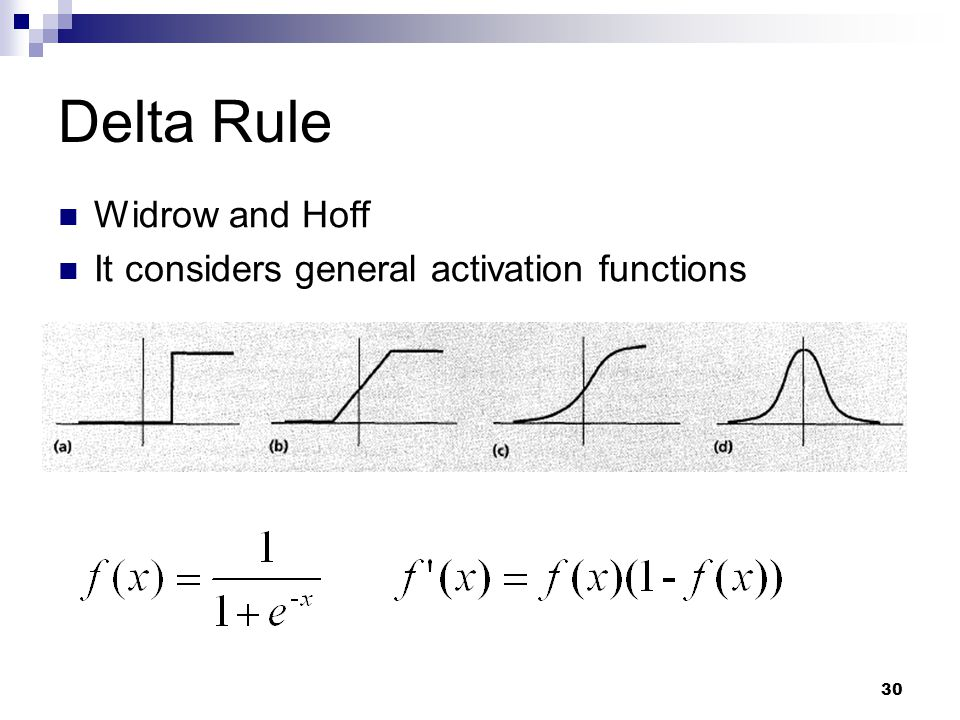 30 Delta Rule Widrow and Hoff It considers general activation functions