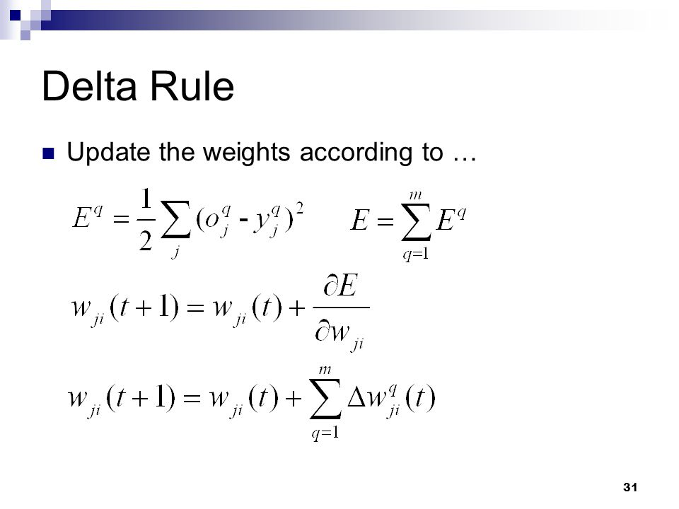 31 Delta Rule Update the weights according to …