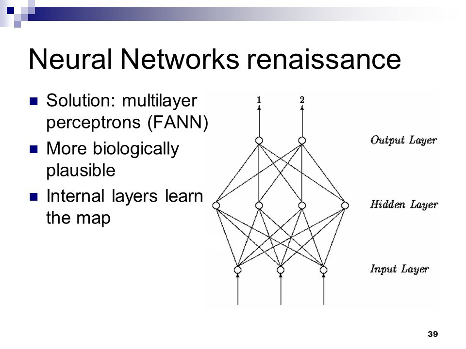 39 Neural Networks renaissance Solution: multilayer perceptrons (FANN) More biologically plausible Internal layers learn the map