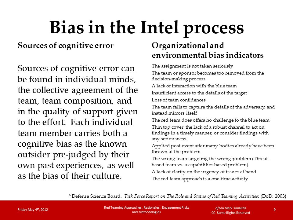 d/b/a Mark Yanalitis CC Some Rights Reserved Bias in the Intel process Sources of cognitive error Sources of cognitive error can be found in individual minds, the collective agreement of the team, team composition, and in the quality of support given to the effort.