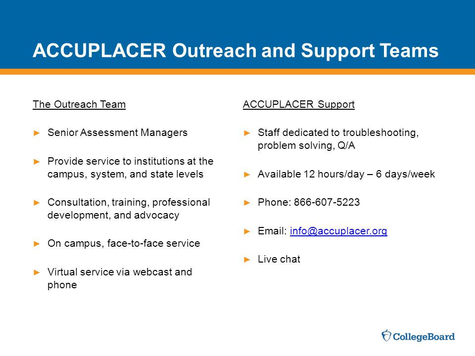 The Outreach Team ► Senior Assessment Managers ► Provide service to institutions at the campus, system, and state levels ► Consultation, training, professional development, and advocacy ► On campus, face-to-face service ► Virtual service via webcast and phone ACCUPLACER Support ► Staff dedicated to troubleshooting, problem solving, Q/A ► Available 12 hours/day – 6 days/week ► Phone: 866-607-5223 ► Email: info@accuplacer.orginfo@accuplacer.org ► Live chat ACCUPLACER Outreach and Support Teams
