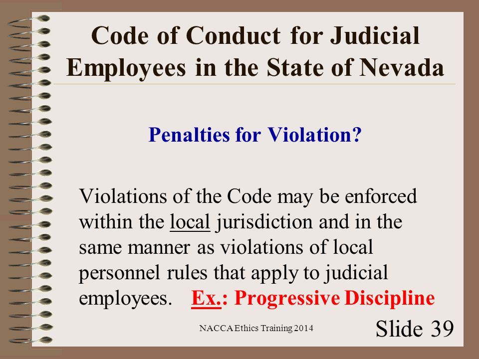 Code of Conduct for Judicial Employees in the State of Nevada Penalties for Violation.