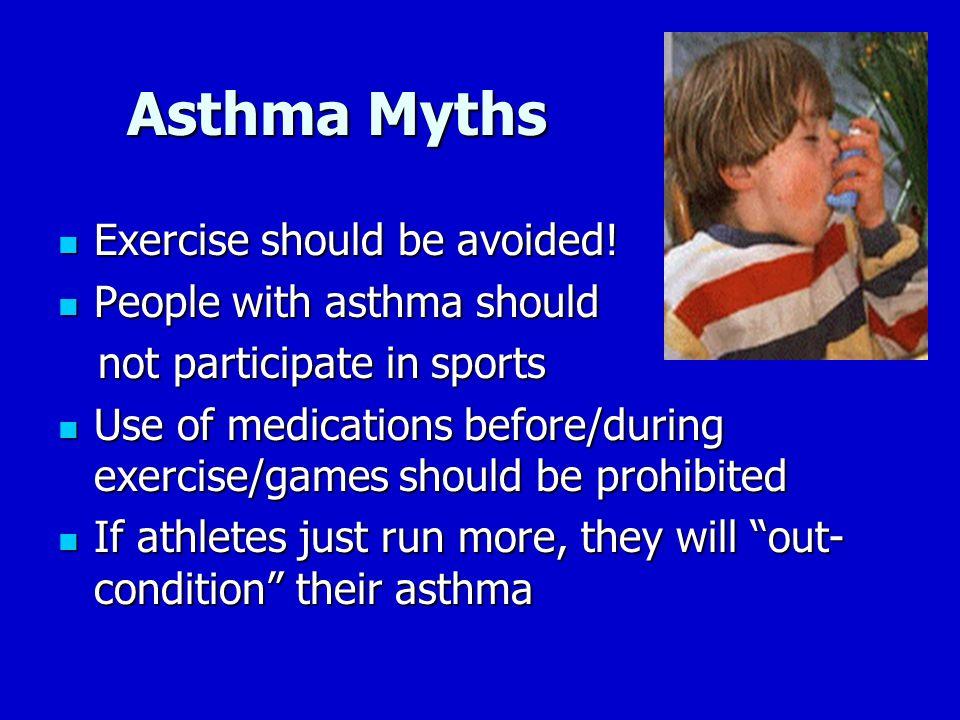 Asthma Myths Asthma Myths Exercise should be avoided.