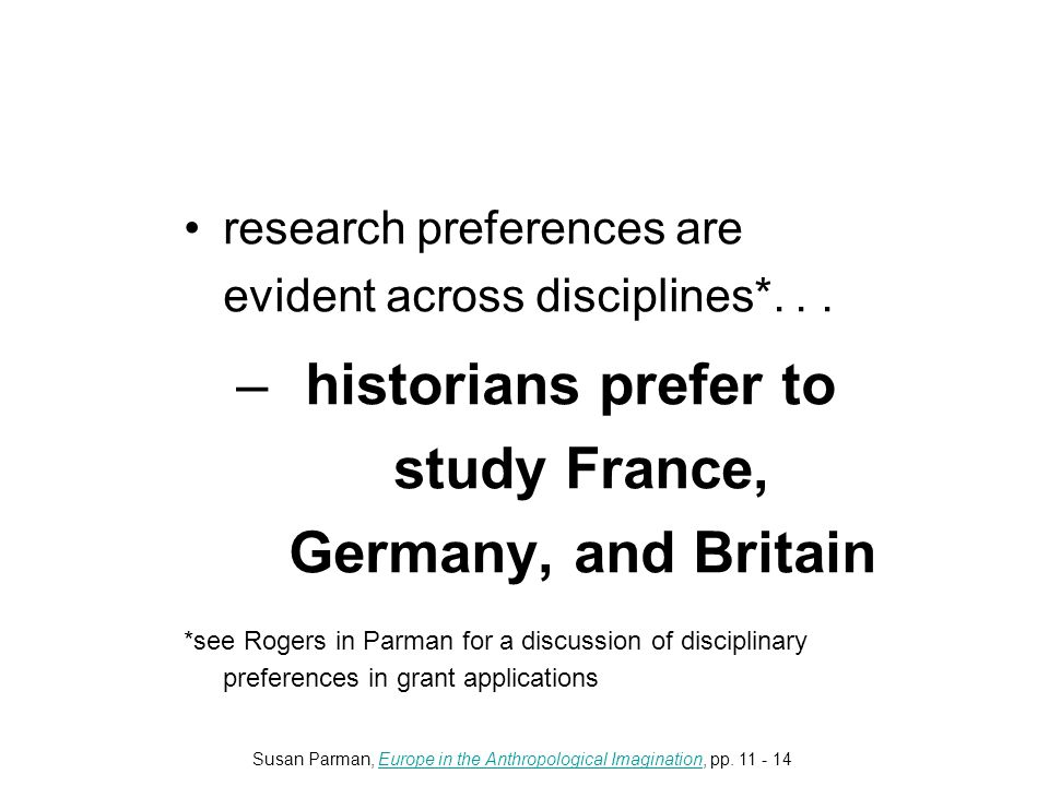research preferences are evident across disciplines*...