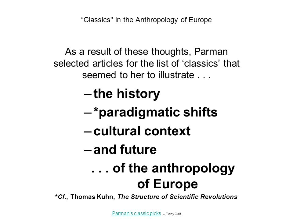 As a result of these thoughts, Parman selected articles for the list of 'classics' that seemed to her to illustrate...