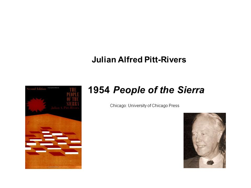 1954 People of the Sierra Chicago: University of Chicago Press Julian Alfred Pitt-Rivers