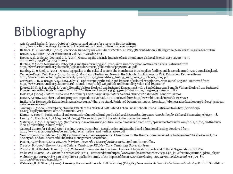 Bibliography Arts Council England. (2013, October).