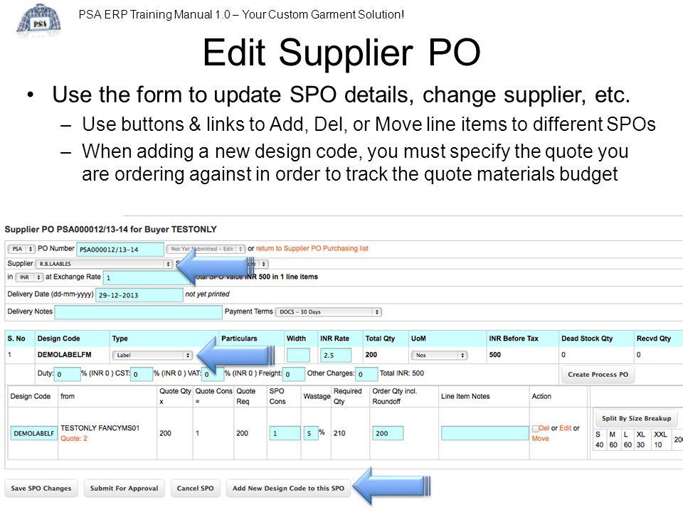 PSA ERP Training Manual 1.0 – Your Custom Garment Solution.