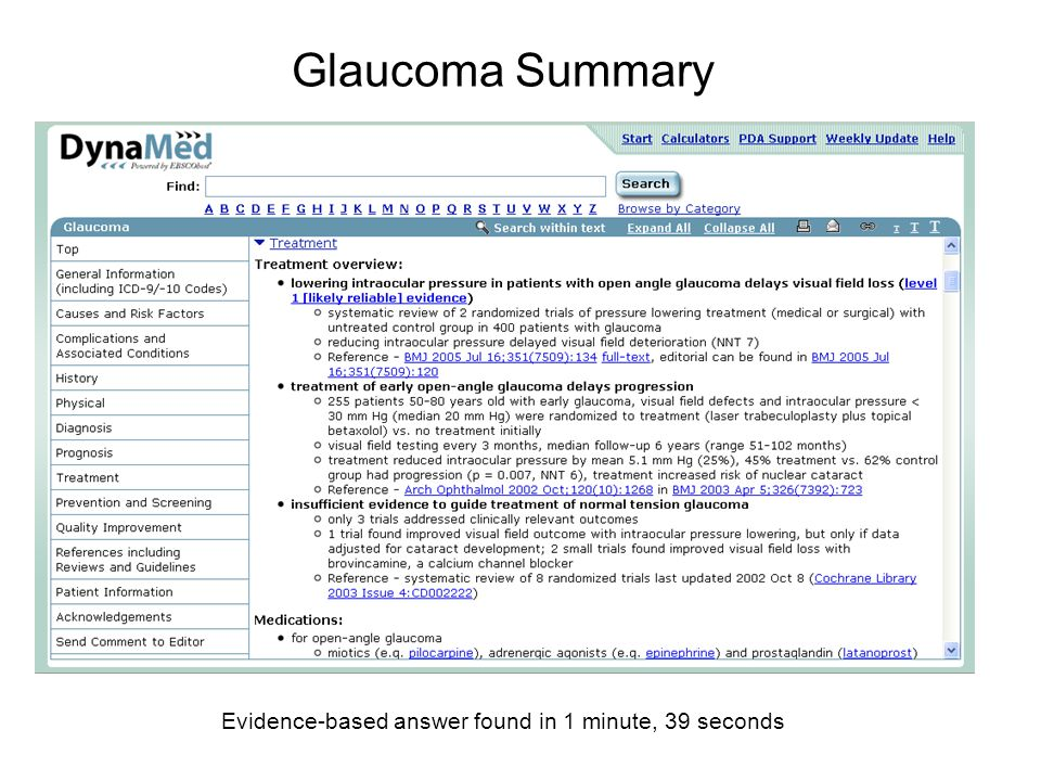 Glaucoma Summary Evidence-based answer found in 1 minute, 39 seconds