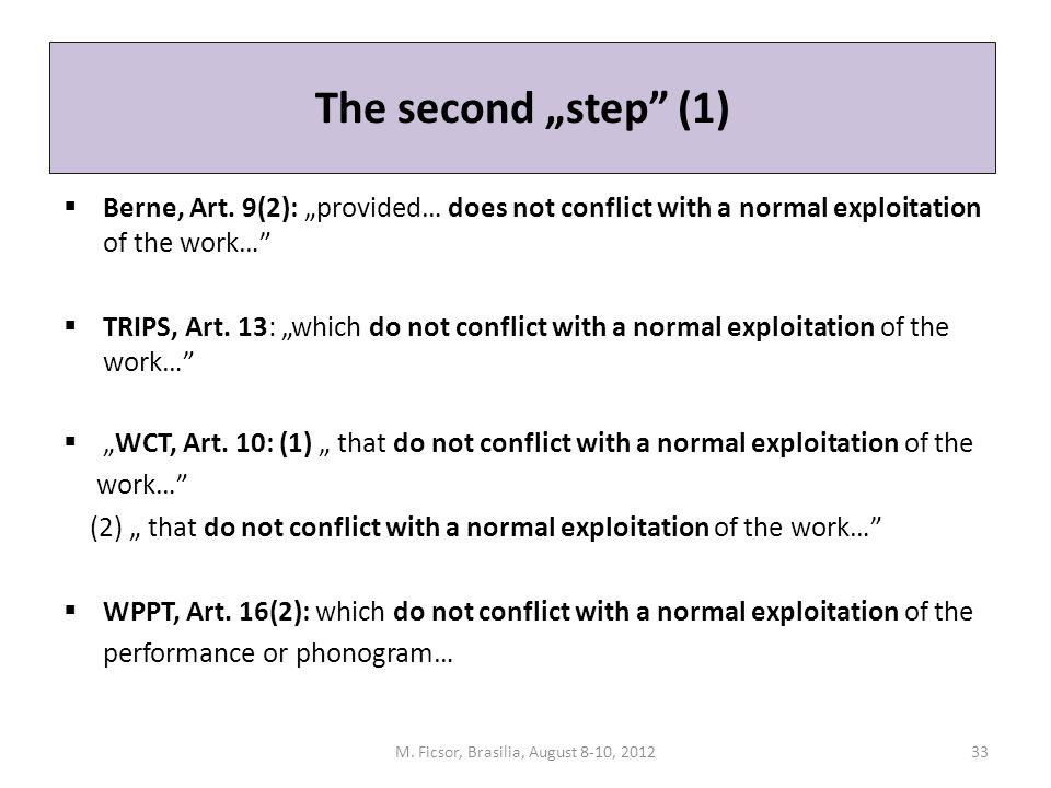 "The second ""step"" (1)  Berne, Art. 9(2): ""provided… does not conflict with a normal exploitation of the work…""  TRIPS, Art. 13: ""which do not confli"
