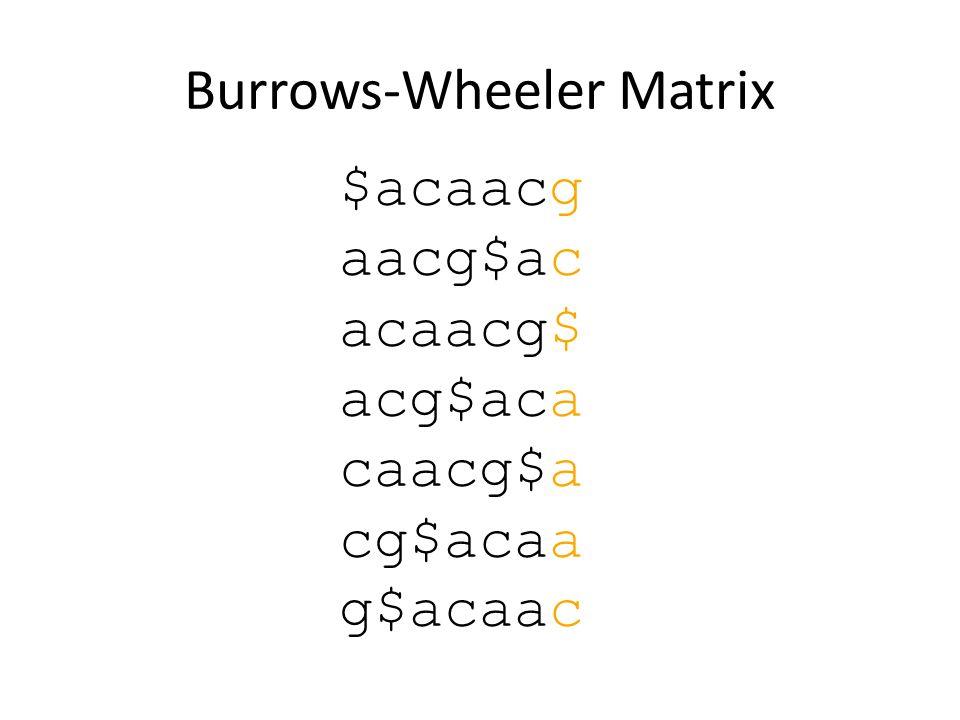 Burrows-Wheeler Matrix $acaacg aacg$ac acaacg$ acg$aca caacg$a cg$acaa g$acaac