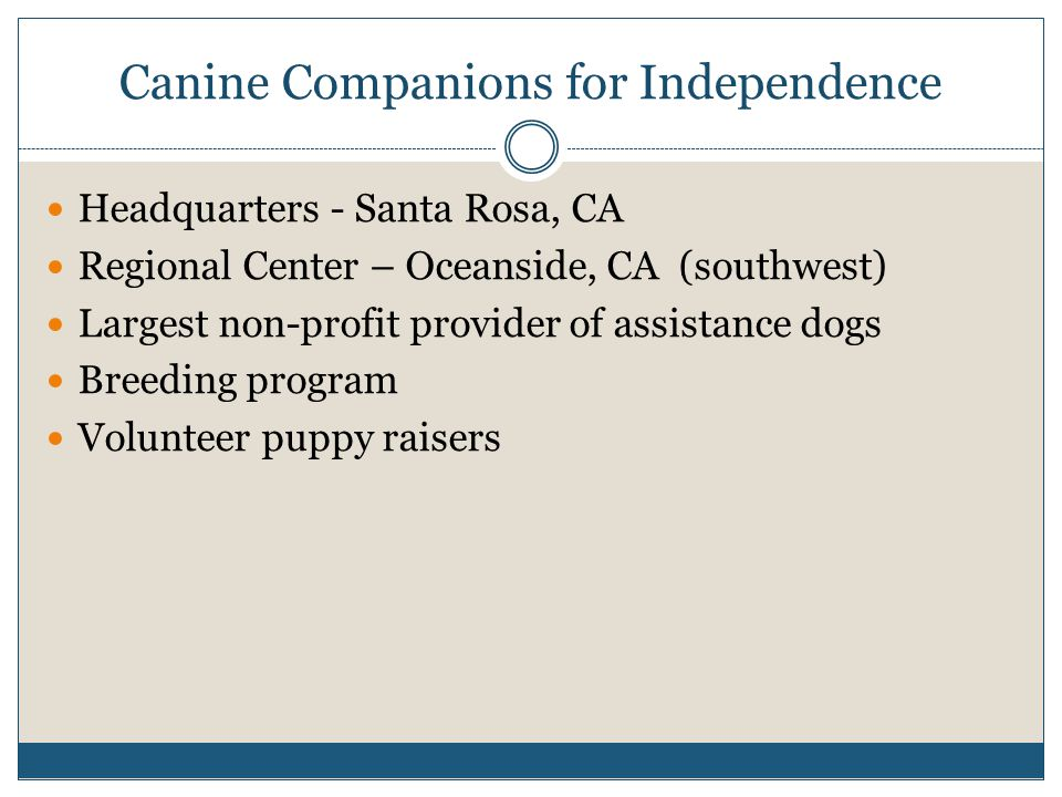 Canine Companions for Independence Headquarters - Santa Rosa, CA Regional Center – Oceanside, CA (southwest) Largest non-profit provider of assistance