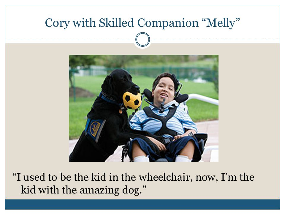 "Cory with Skilled Companion ""Melly"" ""I used to be the kid in the wheelchair, now, I'm the kid with the amazing dog."""