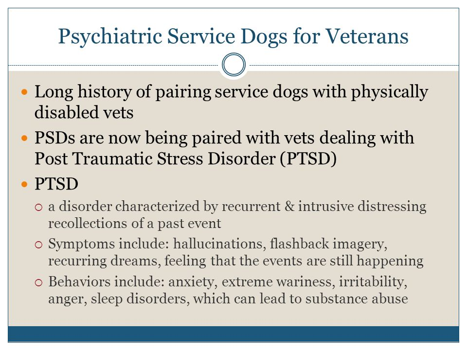 Psychiatric Service Dogs for Veterans Long history of pairing service dogs with physically disabled vets PSDs are now being paired with vets dealing w