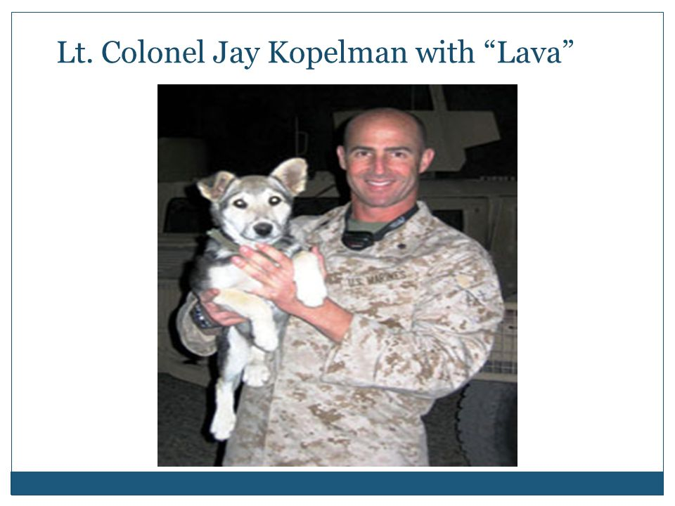 Lt. Colonel Jay Kopelman with Lava