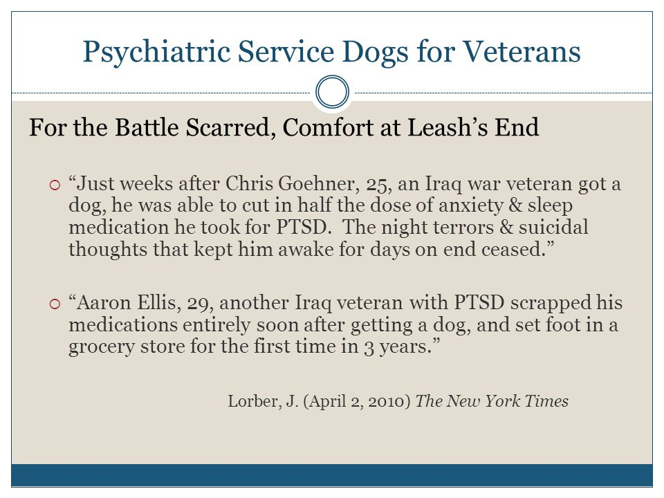 "Psychiatric Service Dogs for Veterans For the Battle Scarred, Comfort at Leash's End  ""Just weeks after Chris Goehner, 25, an Iraq war veteran got a"