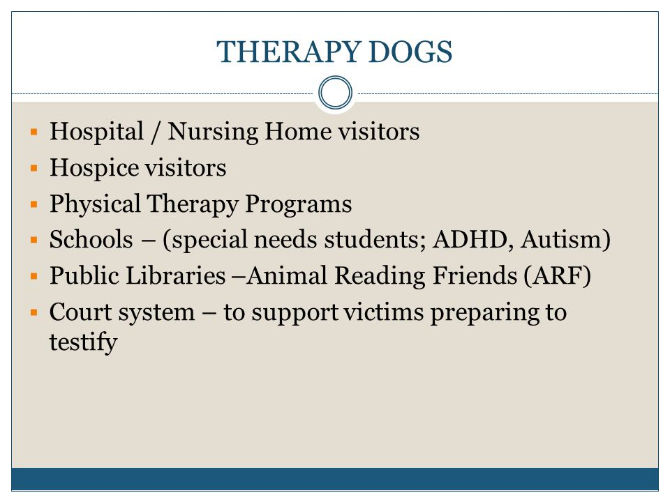 THERAPY DOGS  Hospital / Nursing Home visitors  Hospice visitors  Physical Therapy Programs  Schools – (special needs students; ADHD, Autism)  Public Libraries –Animal Reading Friends (ARF)  Court system – to support victims preparing to testify