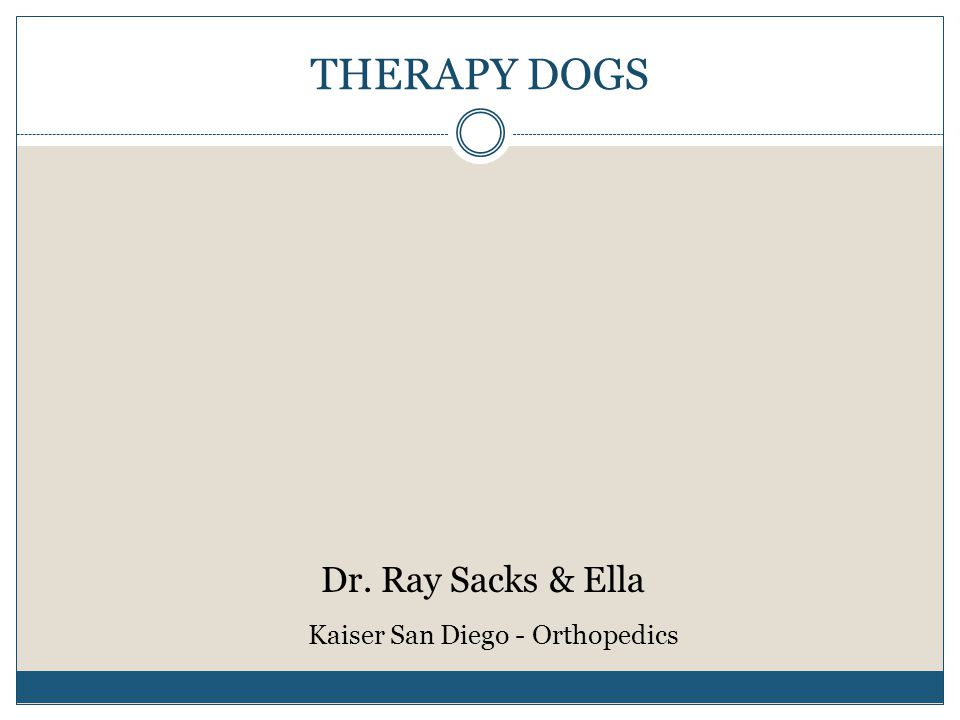 THERAPY DOGS Dr. Ray Sacks & Ella Kaiser San Diego - Orthopedics