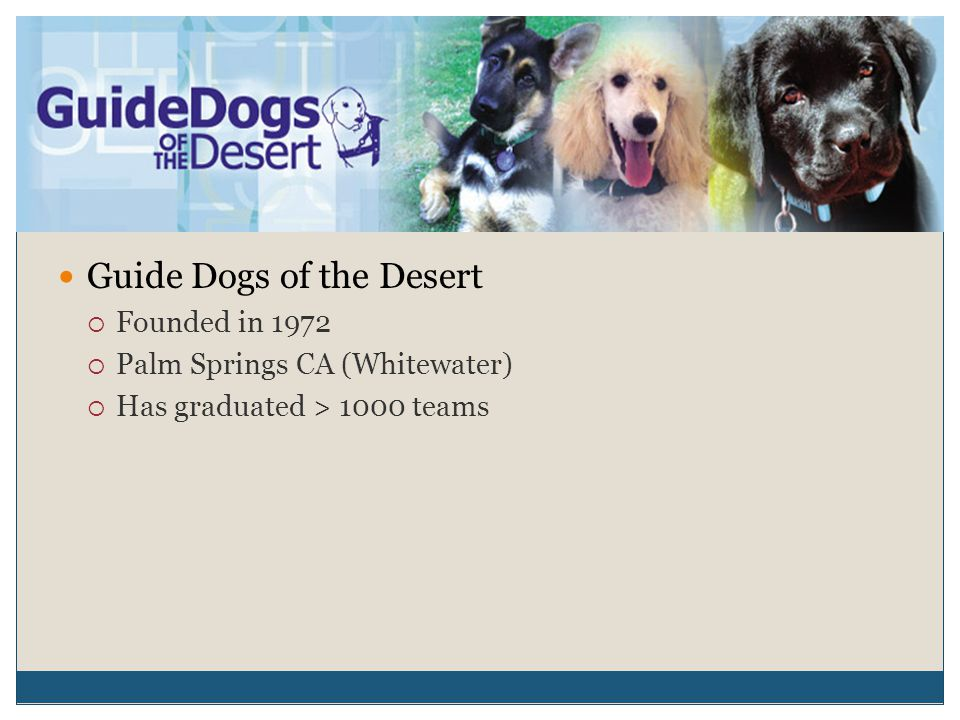 Guide Dogs of the Desert  Founded in 1972  Palm Springs CA (Whitewater)  Has graduated > 1000 teams