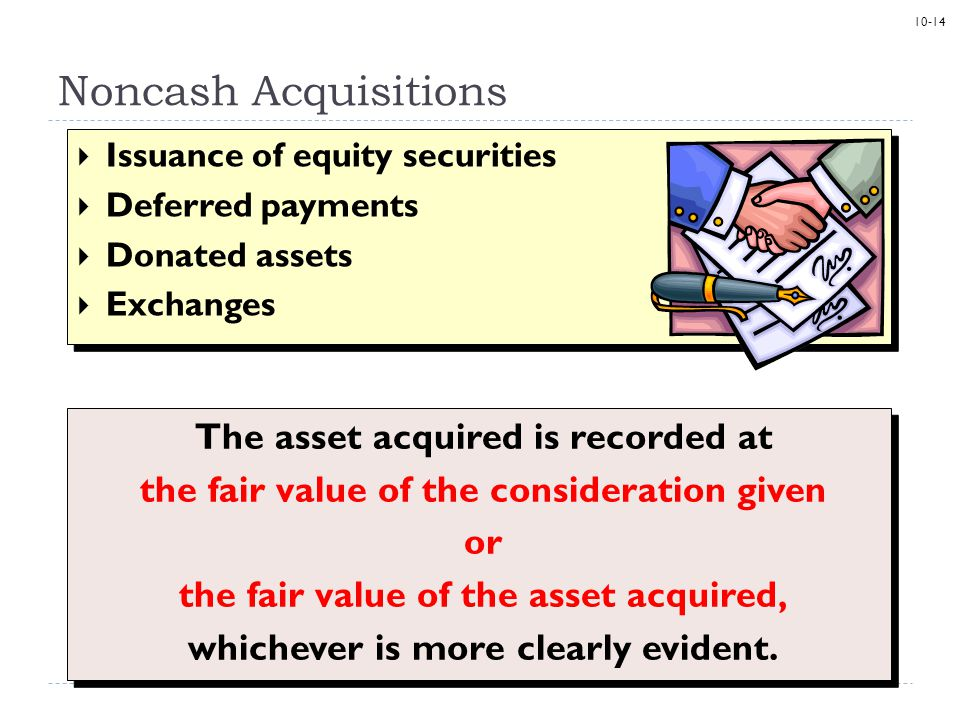 10-14 Noncash Acquisitions  Issuance of equity securities  Deferred payments  Donated assets  Exchanges  Issuance of equity securities  Deferred payments  Donated assets  Exchanges The asset acquired is recorded at the fair value of the consideration given or the fair value of the asset acquired, whichever is more clearly evident.