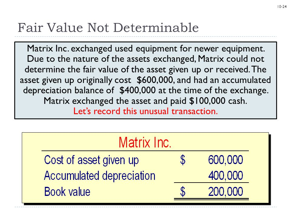 10-24 Fair Value Not Determinable Matrix Inc. exchanged used equipment for newer equipment.