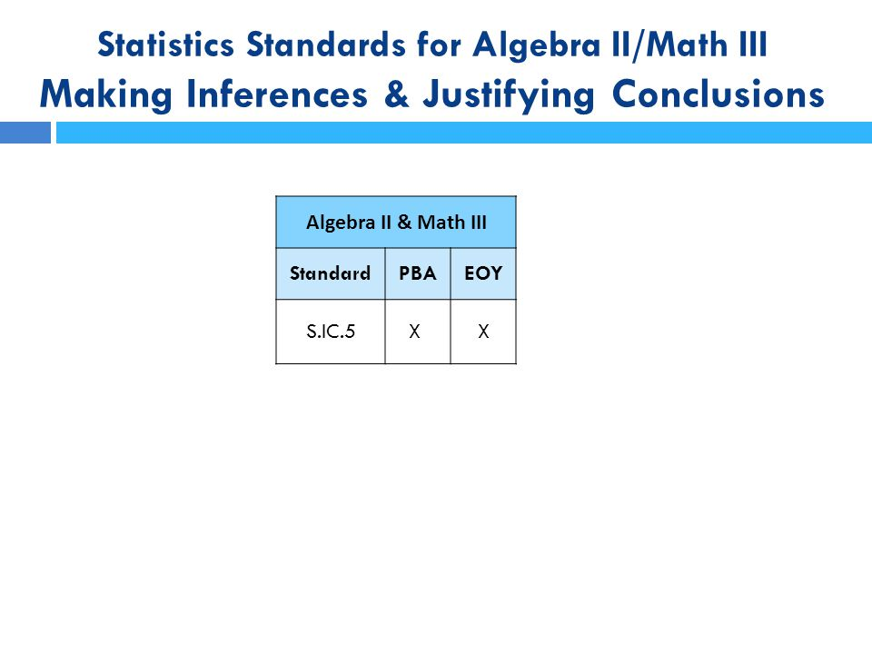 Algebra II & Math III StandardPBAEOY S.IC.5X X Statistics Standards for Algebra II/Math III Making Inferences & Justifying Conclusions