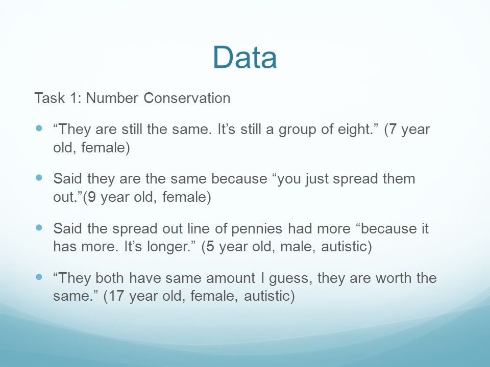 "Data Task 1: Number Conservation ""They are still the same. It's still a group of eight."" (7 year old, female) Said they are the same because ""you just"