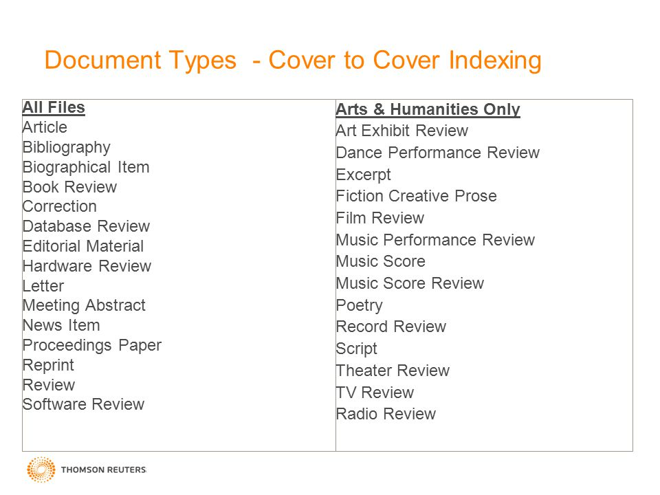Document Types - Cover to Cover Indexing All Files Article Bibliography Biographical Item Book Review Correction Database Review Editorial Material Hardware Review Letter Meeting Abstract News Item Proceedings Paper Reprint Review Software Review Arts & Humanities Only Art Exhibit Review Dance Performance Review Excerpt Fiction Creative Prose Film Review Music Performance Review Music Score Music Score Review Poetry Record Review Script Theater Review TV Review Radio Review