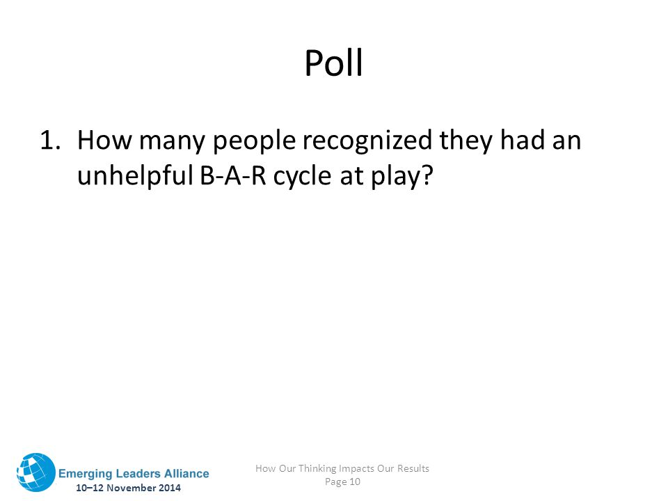 10–12 November 2014 How Our Thinking Impacts Our Results Page 10 Poll 1.How many people recognized they had an unhelpful B-A-R cycle at play?