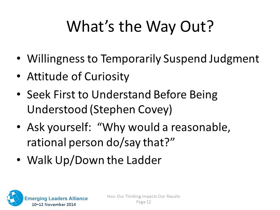 10–12 November 2014 How Our Thinking Impacts Our Results Page 12 What's the Way Out? Willingness to Temporarily Suspend Judgment Attitude of Curiosity