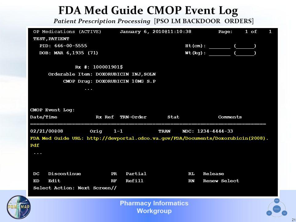 Pharmacy Informatics Workgroup FDA Med Guide CMOP Event Log Patient Prescription Processing [PSO LM BACKDOOR ORDERS] 21 OP Medications (ACTIVE) Januar
