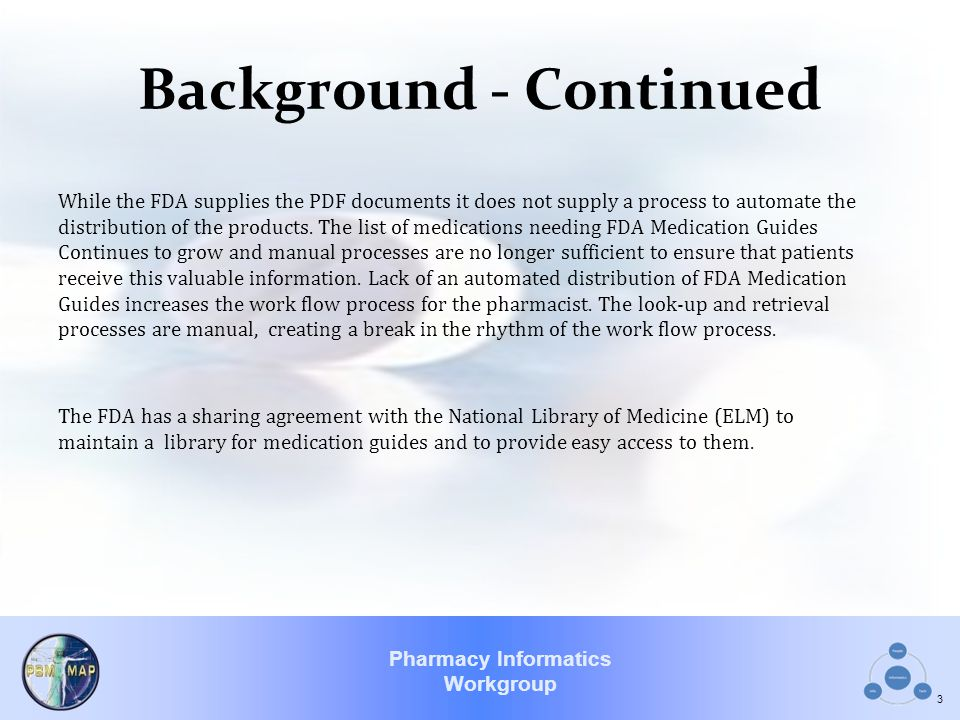 Pharmacy Informatics Workgroup Background - Continued While the FDA supplies the PDF documents it does not supply a process to automate the distribution of the products.