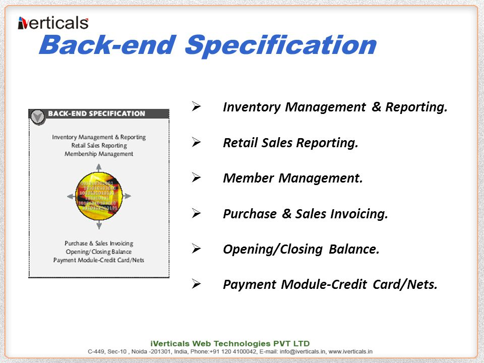 Back-end Specification  Inventory Management & Reporting.