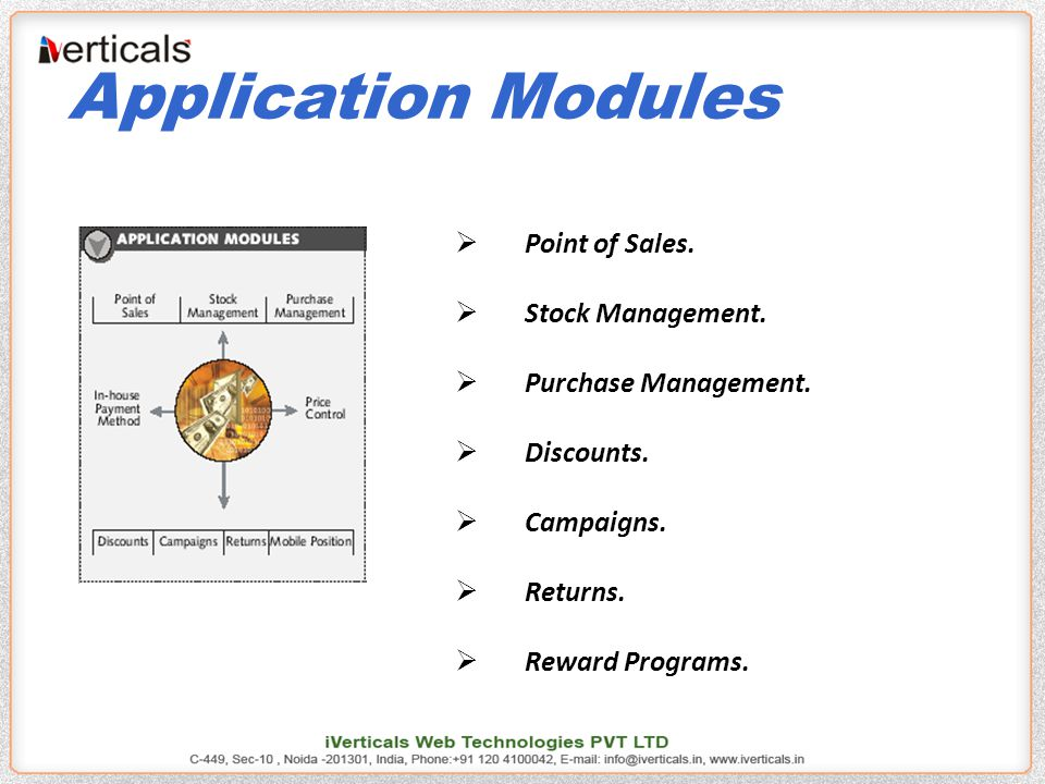 Application Modules  Point of Sales.  Stock Management.