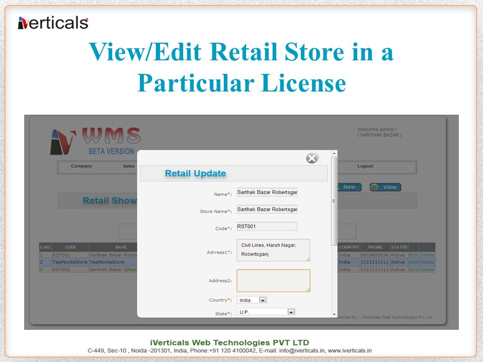 View/Edit Retail Store in a Particular License