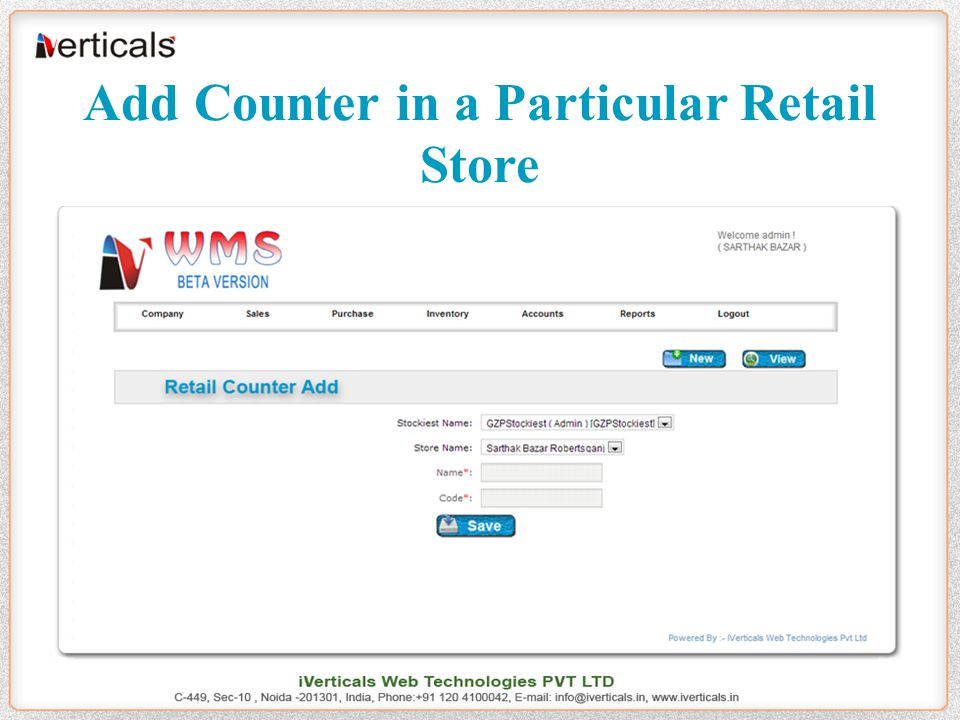 Add Counter in a Particular Retail Store