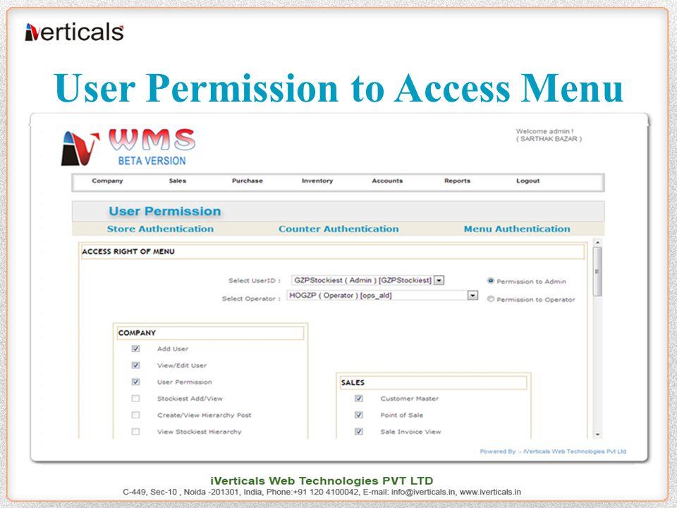 User Permission to Access Menu