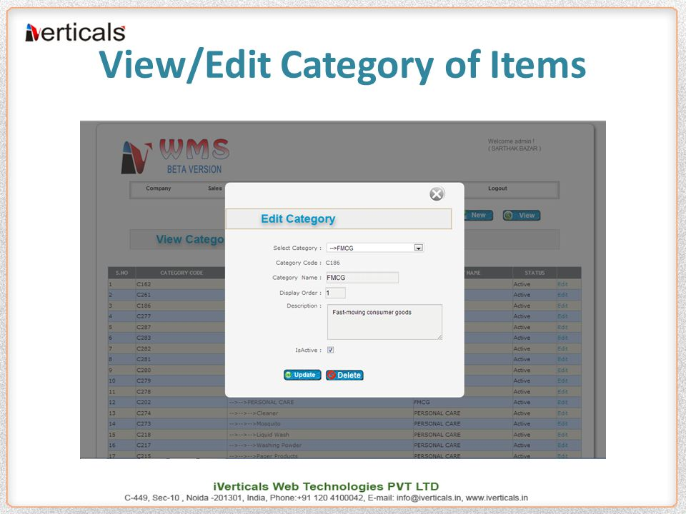 View/Edit Category of Items
