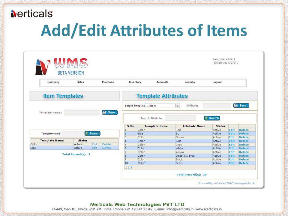 Add/Edit Attributes of Items