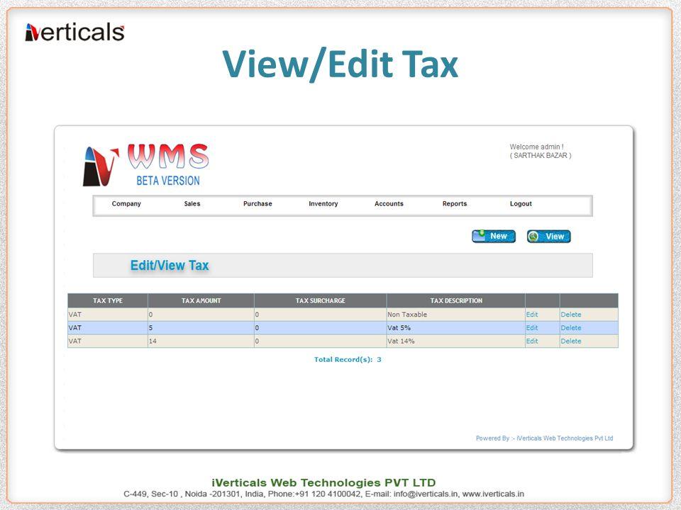 View/Edit Tax