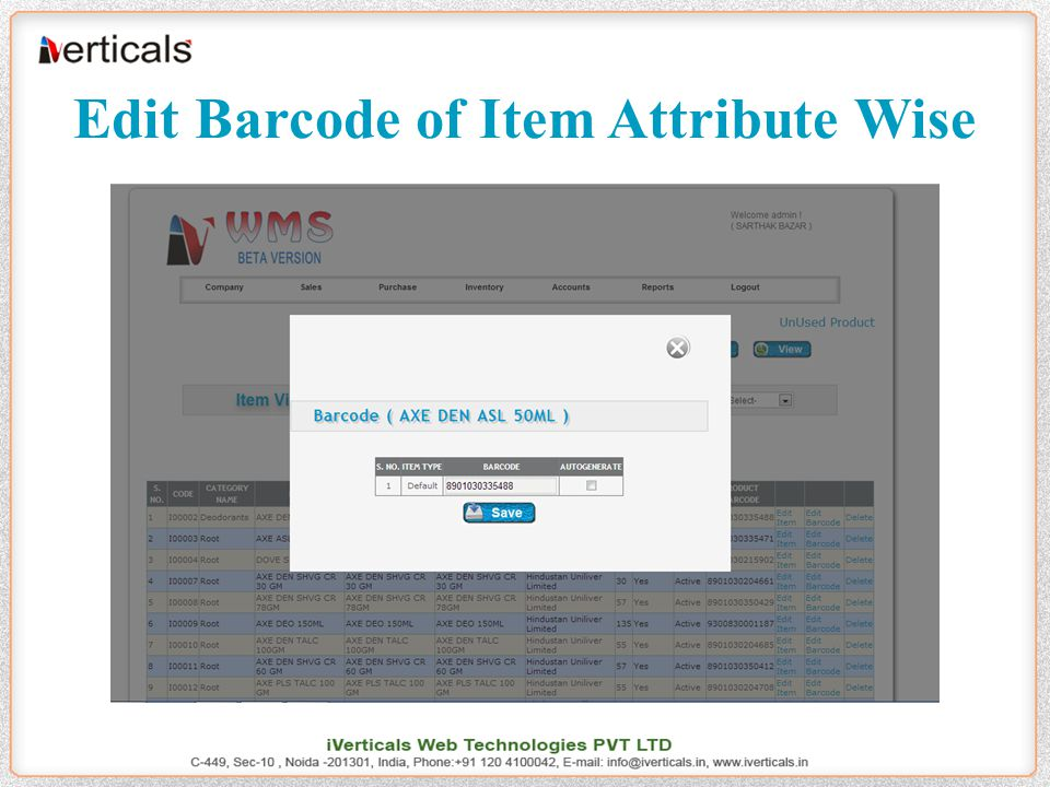 Edit Barcode of Item Attribute Wise