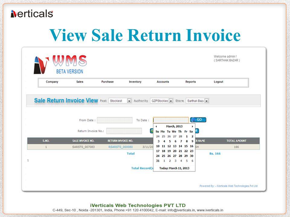 View Sale Return Invoice