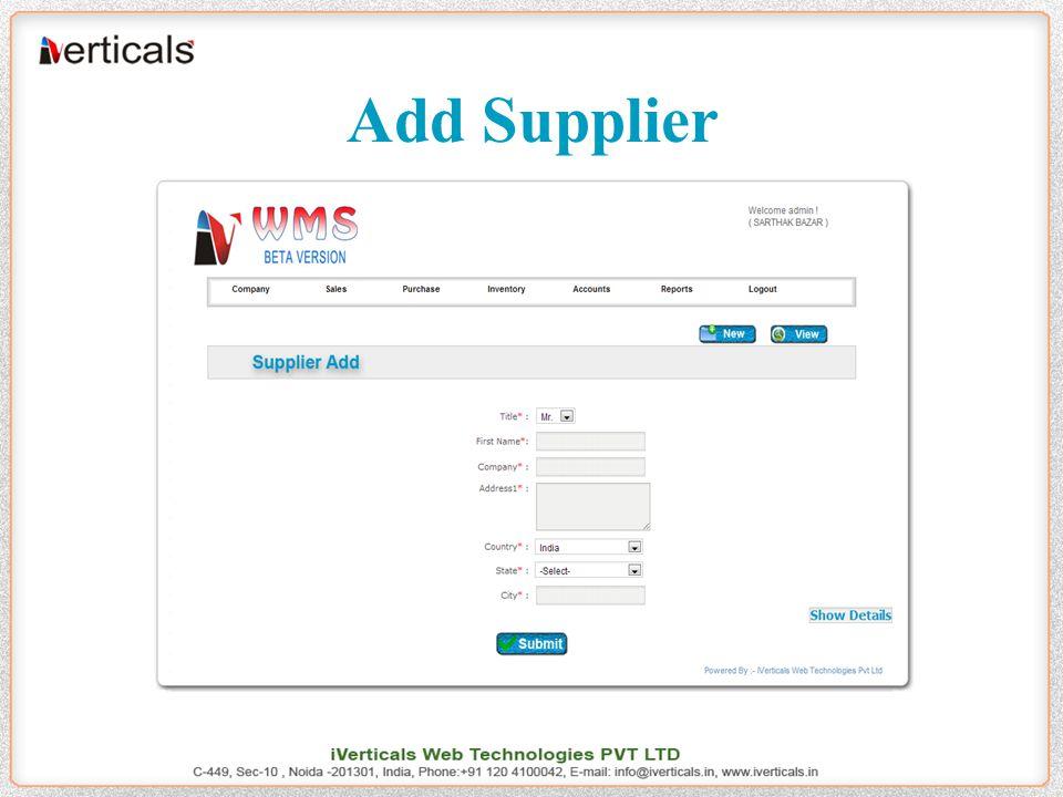Add Supplier